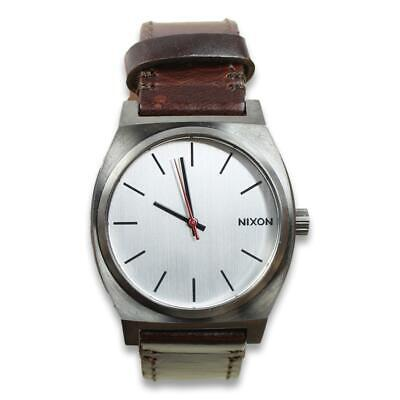 £43.72 • Buy Nixon Mens Time Teller Leather Watch Dark Brown Silver One Size New