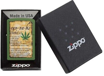 AU53.95 • Buy Genuine Zippo Lighter Cannabis Design With Message Olive Green Made In USA Gift
