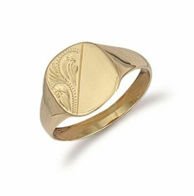 AU591.18 • Buy 9ct Yellow Gold Cushion Engraved Signet Ring 12mm