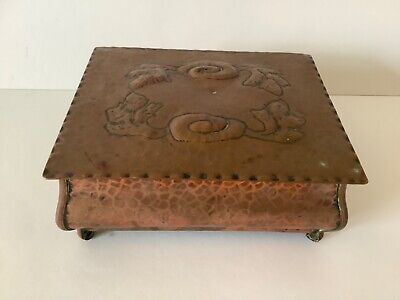 £45.99 • Buy Vintage Arts And Crafts Style Copper Box / Trinket Box Hand Made 18 Cm 14 Cm 8cm