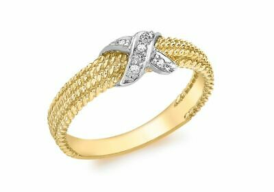AU447.29 • Buy 9ct Yellow Gold Diamond Rope Kiss Ring