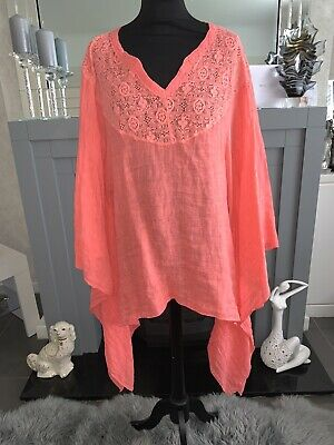 AU17.85 • Buy Made In Italy Linen Floaty Kaftan Tunic  Kimono Cover Up Lagenlook Coral 10-16