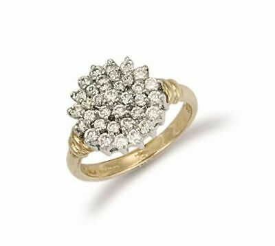 AU593.77 • Buy 9ct Yellow Gold Cluster Ring 14mm