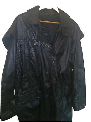 $120 • Buy Mens Black Leather Duster Trench Coat Size Large