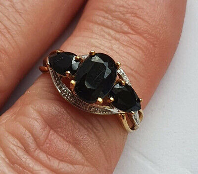 £99 • Buy 9ct GOLD BLACK SPINEL & DIAMOND RING SIZE P