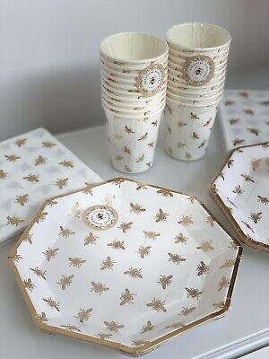 £14.99 • Buy Bee Gold Bumble Bee Disposable Birthday Party Tableware Cups Plates Napkin BN