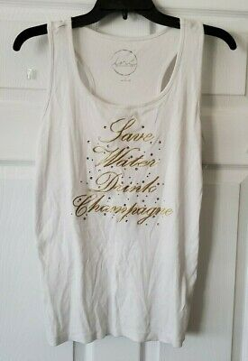 £15.36 • Buy $49 NWT INC Womens White Ribbed  SAVE WATER DRINK CHAMPAGNE  Tank Top Size Large