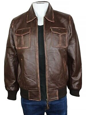 $68.77 • Buy Mens Brown Bomber Leather Jacket Cowhide Classic A2 Aviator Jacket L Size New