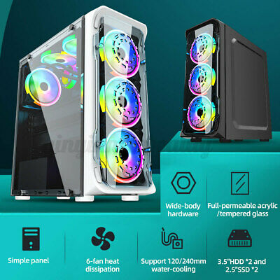 AU54.49 • Buy RGB Desktop PC Gaming Computer Case Cover ATX Tower Casing Strip Tempered Glass