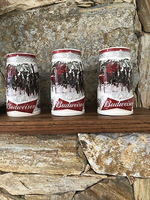 $ CDN56.24 • Buy Budweiser Holiday Steins(3) 2017 #38 Anniversary Edition  Holiday Retreat  W/CoA