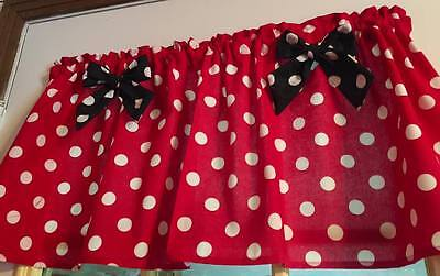 £9.65 • Buy MIckey Mouse Red  Minnie Mouse Curtain Valance Window Topper Cotton 43 W X 15 L