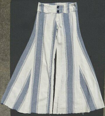 $49.99 • Buy FREE PEOPLE Ivory Blue Striped Linen Cotton Extreme Flare Pants US XS 0 2  Long