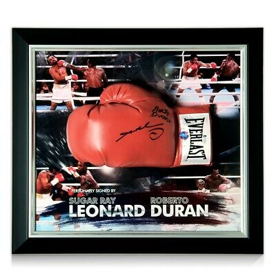 AU994 • Buy Sugar Ray Leonard And Roberto Duran Signed Boxing Glove. Framed