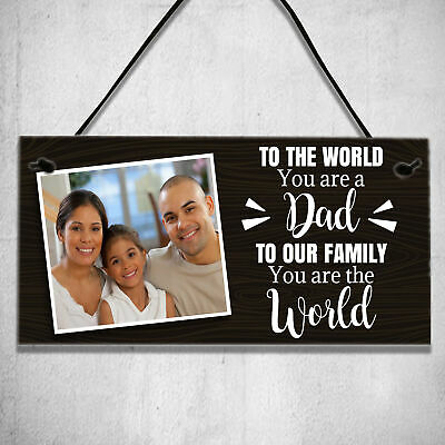 £3.99 • Buy Personalised Photo Plaque Fathers Day Birthday Gifts For Dad Daddy Family Sign