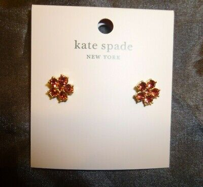 $ CDN30.24 • Buy Kate Spade N.y. Red Coral Spade Flower Gold Stud Earrings Nwt!sale!!!
