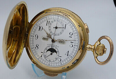 £6245.96 • Buy Solid 18k Gold Quarter Repeater Full Calendar Moonphase Chronograph Pocket Watch