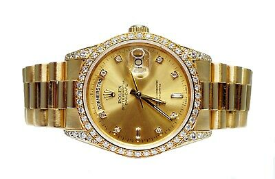 £19995 • Buy ROLEX Day-Date 36 18338 18ct Gold 1993 Diamond Case And Dial Box And Papers