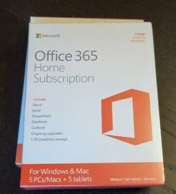AU103.84 • Buy New Microsoft Office 365 Home PC Mac Tablet 1 Year Subscription