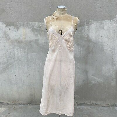 £119.64 • Buy Vintage 1930s Pale Pink Silk Dress Slip Gown Floral Embroidery Brocade Strappy