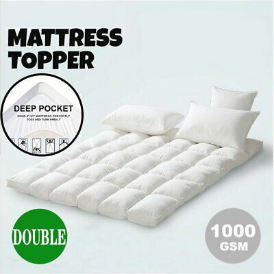 AU53.89 • Buy 1000GSM DOUBLE Pillowtop Mattress Topper Luxury Bedding Mat Pad Protector Cover