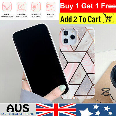 AU6.57 • Buy For IPhone 8 7 6 11 12 Pro ShockProof Splicing Marble Phone Cover Case Silicone