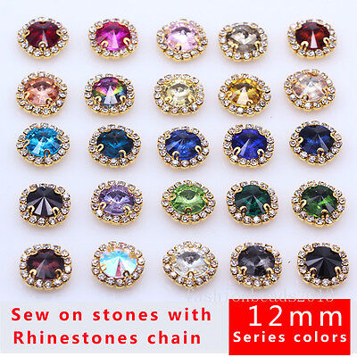 $3.79 • Buy 12p 12mm Round Costume Dress Crystal Glass Rhinestone Applique Sewing On Buttons