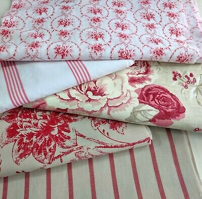 5 Floral Fabric Remnants, Cabbages And Roses & Vintage French Fabric Bundle Pink • 12.95£