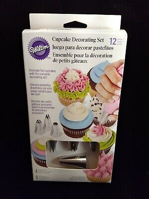 £7.17 • Buy Wilton 12 Piece Cupcake Frosting Decorating Set - 4 Tips 8 Bags - Cake Cookie