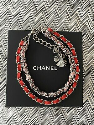 £378.95 • Buy CHANEL Leather & Tweed Silver Tone Clover Charm Necklace. Brand New In Box.