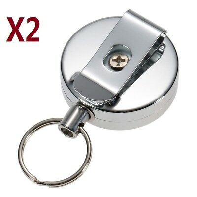 £3.98 • Buy 2X  Retractable Key Chain Ring Stainless Steel Pull Recoil Rope Heavy Duty Cord