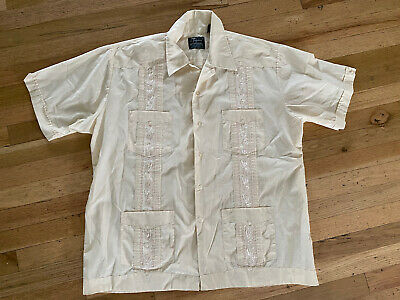 £9.92 • Buy Guayabera Of Paterson XL Embroidered Shirt Cuban Wedding Mexican Cream Button