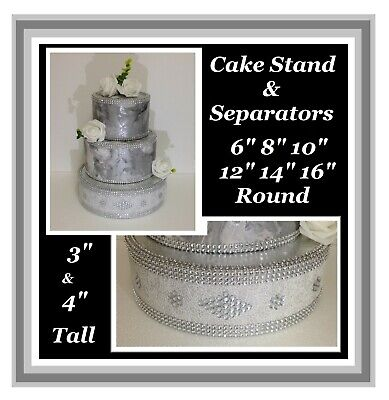 SPECIAL OFFER Lace Wedding Cake Stand Separator Sparkling Acrylic Crystal Stones • 14£