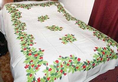 """$ CDN28.32 • Buy Vintage Christmas Tablecloth White Printed Holly Berry Pattern 52"""" X 96"""""""