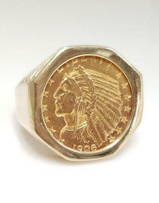 £1657.50 • Buy 1908 INDIAN HEAD HALF EAGLE COIN RING In 14K YELLOW GOLD