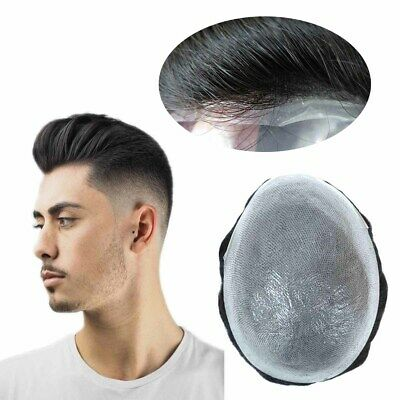 £89.99 • Buy Mens Toupee Human Hair Replacement System V-loop Thin Skin 05-06 Brown Hairpiece