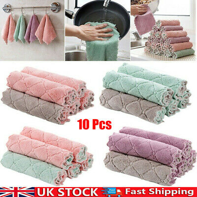 £4.54 • Buy 10PCS Absorbent Microfiber Kitchen Dish Cloth Household Applied Cleaning Towel