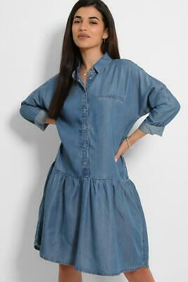 £11.99 • Buy Relaxed Denim Shirt Dress Oversized Womens Ex New Look Jeans Long Button Down