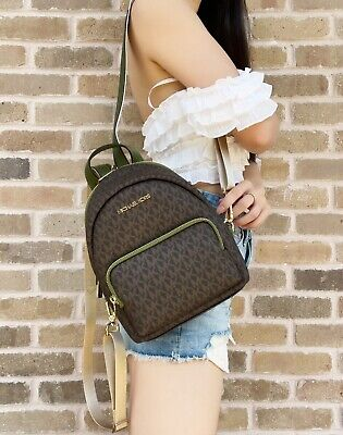 $109 • Buy Michael Kors Erin Abbey Small Convertible Backpack Brown MK Signature Evergreen