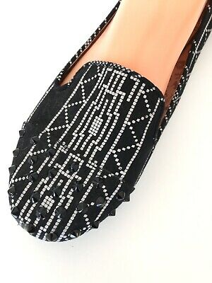 £18.02 • Buy Betseyville Womens Size 9.5 Shoes Loafer Spiked Studded Tribal Flats Black White
