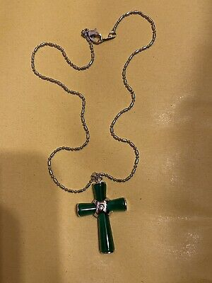 £11.99 • Buy 18k GOLD PLATED GREEN JADE CROSS CRUCIFIX PROTECTION PENDANT NECKLACE