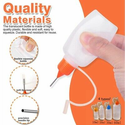 £2.29 • Buy 5 Pc Empty Bottles Needle Precision Tip For Glue Quilling Scrapbooking Craft DIY