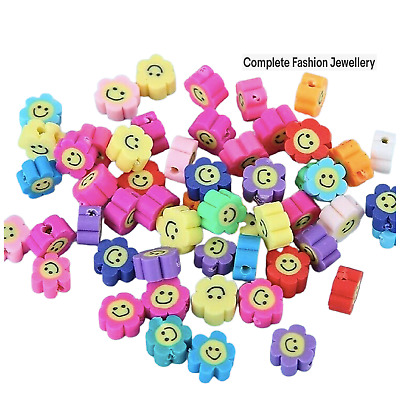 £3.99 • Buy 30 Multicoloured Sun Flower Smiley Face Polymer Clay Beads For Jewellery Making