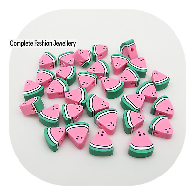 £1.99 • Buy 20 10MM Pink Coloured Watermelon Polymer Clay Beads For Jewellery Making