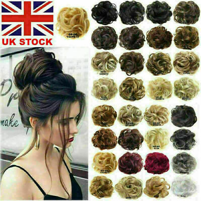 £3.28 • Buy UK Curly Messy Bun Hair Piece Scrunchie Updo Cover Hair Extensions Real As Human