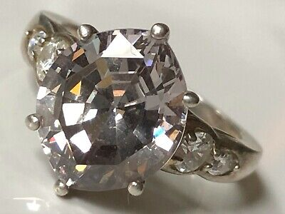$ CDN22.21 • Buy Diamonique @ QVC Sterling Silver '925' And Clear Stone Cluster Ring Band Size L