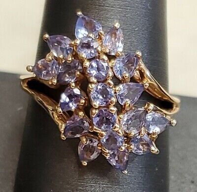 £181.04 • Buy Natural Tanzanite Size 10 Stone Cluster Ring In Solid 14K Yellow Gold Stunning