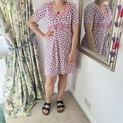 Brora M 12 14 Pink Floral Jersey Dress Summer A Line Knee Length Holiday VGC • 27.99£