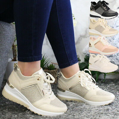 £17.95 • Buy Women Running Wedge Trainers Ladies Lace Up Sneaker Gym Jogging Sport Shoes Size