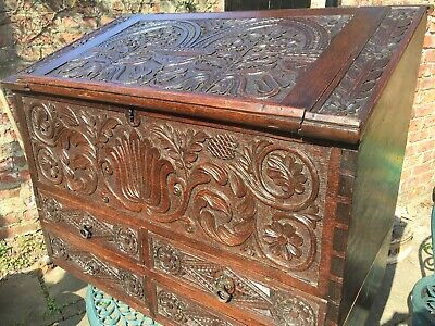 £375 • Buy Antique 18th Century Carved Oak Bureau-Chest With Elaborate Carved Floral Motif