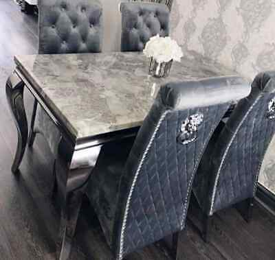£849 • Buy Louis Grey Marble 120CM Dining Table + Lucy Slim Lion Knocker Velvet Chairs